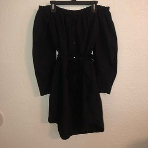 Black off the shoulder peasant dress